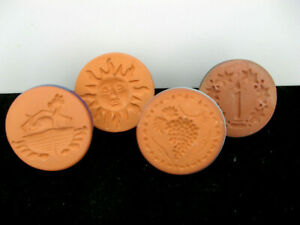 Lot of 4 RYCRAFT Terra Cotta COOKIE STAMP PRESS, enamel handles all unique & VGC