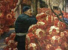 """""""Raise the Red Lantern"""" by Zhang Xing.  Original Oil Painting on High Quality Bu"""