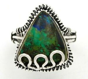 Azurite In Chrysocolla 925 Sterling Silver Ring Jewelry Sz 6.5 ED16-1