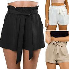 UK Womens High Waist Tie Belt Paper Bag Shorts Ladies Summer Hot Pants Size 8-14