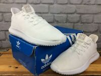 ADIDAS MENS UK 8 EU 42 TUBULAR SHADOW ALL WHITE TRAINERS RRP £75  LG