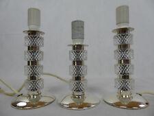 3 x 60s Vintage Tisch Lampen 925 Sterling Silber + Kristall Leuchten 60er