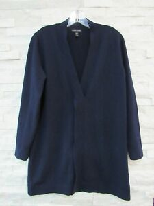 Eileen Fisher Navy Blue Responsible Wool Cross Front Fly Away Tunic Sweater S