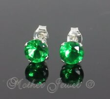 5mm REAL SOLID 925 STERLING SILVER Round Emerald Green CZ Mens Ladies Earrings
