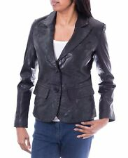 Ladies  Black Two Button Fitted Classic Casual Tailored Blazer Leather Jacket