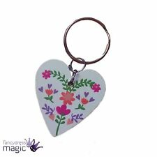 Gisela Graham Wooden Floral Love Heart Keyring Mothers Day Easter Birthday Gift