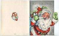 VINTAGE CHRISTMAS SANTA CLAUS WINKING SNOWFLAKES PRESENTS GRAY MCM GREETING CARD