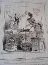 Caricature 1883 La Femme en voyage 11 valise pour aller à Amsterdam