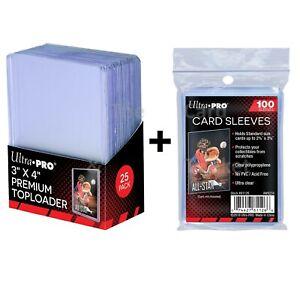 "25 Ultra PRO Premium 35pt 3x4"" Card Toploaders + 100 SLEEVES Loaders Toploader"