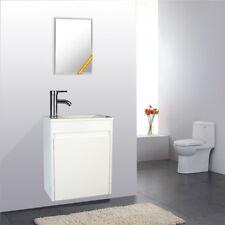 "16"" Wall Mount Bathroom Vanity Gray Single W/ Ceramic Sink Faucet Drain Combo"