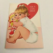 Vintage Greeting Card Valentine Cute Girl Doll Hearts Norcross