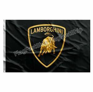 Lamborghini Flag Banner 3x5 ft Black Bull Logo Garage Fast FREE Shipping