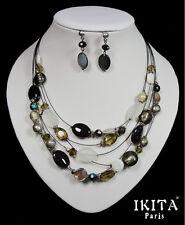 Luxus Set Kabel-Kette Ohrringe Ikita Paris Halskette Collier Glasperlen Perlmutt