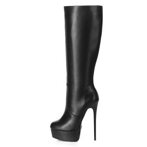 Giaro GALANA black leather look boots paltform and stiletto heel