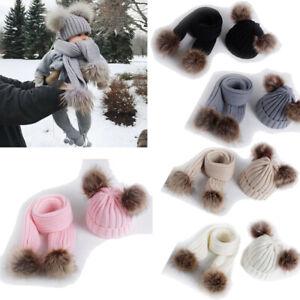 2PCS Fashion Baby Knit Hats Scarf Set Winter Warm Beanie Cap Double Pom Fur Hat
