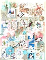 Pink Christmas Junk Journal Kit 60 Items Pink & Teal Theme, Papers, Tags, Quotes