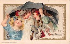 1914 Winsch Santa with Girls under Umbrella Christmas Greetings post card