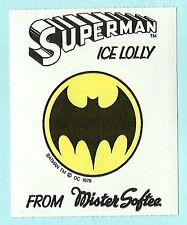 Mister Softee Superman Ice Lolly Sticker Premium circa 1978 - Batman Cowl Logo