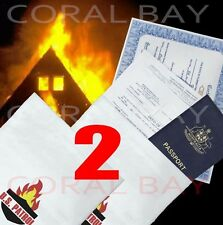 2x Large Fire Flame Bushfire Resistant Document Passport Bag Pouch 38.5x 26cm