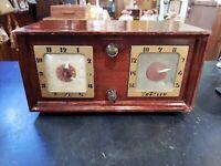 "Vintage Trav-ler Traveler Tube Clock Radio 11"" x 5.75""x 6"""
