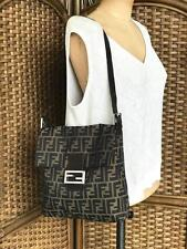 FENDI Tobacco Zucca Canvas Leather Flap FF Logo Shoulder Bag Silver Women's SALE