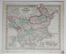 "VINTAGE COLTON MAP - TURKEY - 14 X 17"" - HAND COLORED - CIRCA 1870"