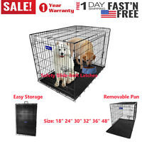 "Small Dog Large Dog Crate 48""/42""/36""/30""/24""/18"" Folding Pet Cage XXL Kennel"