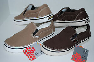 NEW NWT CROCS HOVER SLIP ON canvas shoe 6 7 8 9 10 11 12 13 KHAKI ESPRESSO BROWN