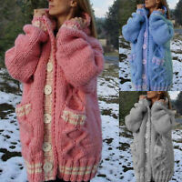 Womens Chunky Knitted Cardigan Ladies Button Sweater Coat Jackets Jumper Winter