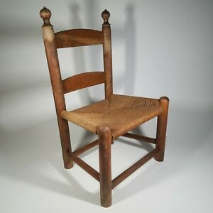 EARLY FOLK ART LADDERBACK CHILDS CHAIR W/ RUSH SEAT SOLID WOOD HAGERTY COLONIAL