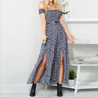 PLUS SIZE Summer Women's Boho Floral Split Long Maxi Party Beach Dress S M L 2XL