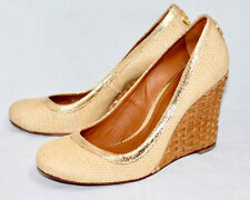 908b4c490ded TORY BURCH A750 Woven Straw Wedges Wo s 10M Natural Mesh   Metallic Gold  Leather