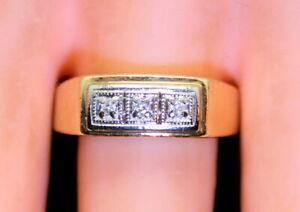 Vintage Men's 10K Yellow Gold .09 Ct Diamond Band/Ring Size 10.5