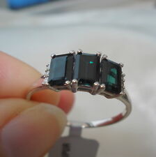 1.66ct Certified Idar Indicolite Tourmaline & Diamond White Gold Ring