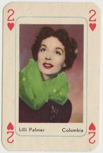 Lilli Palmer Vintage 1950s Maple Leaf Playing Card of Film Star
