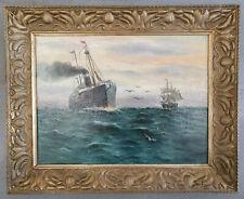 Gemälde Seestück, Dampfer, Segler, hohe See, signiert und datiert 1905