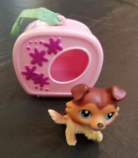 LPS Littlest Pet Shop Collie Blue Eyes Tan White Brown Dog Raised Paw Carrier 58