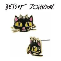 US Seller Betsey Johnson Antique Crystal Cat Stud Earrings Fashion Jewelry