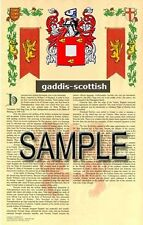 GADDIS Armorial Name History - Coat of Arms - Family Crest GIFT! 11x17