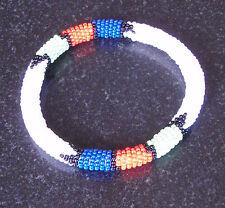African tribal beaded bangle bracelet white hand made Zulu jewellery jewelry