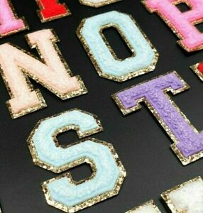 Chenille Patch Letter Patches Iron on / Sew on Retro Alphabet Embroidery Gold