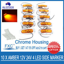 10X Amber 4 Led Side Marker Light Lamp Clearance Trailer Truck Lorry 12V 24V AHY