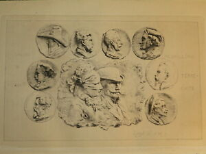 RINGEL D'ILLZACH (1847-1916) EAU FORTE ORIGINALE MEDAILLONS SCULTPTURE ALSACE