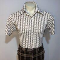 Vtg 50s 60s CREIGHTON Shirt NYLON Mid Century Disco Hippie Rat Pack MENS 16.5