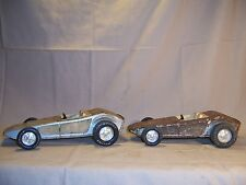 2 Vintage Nylint Pressed Steel Race Car Hot Rod Roadster Metal Toy for Restorati