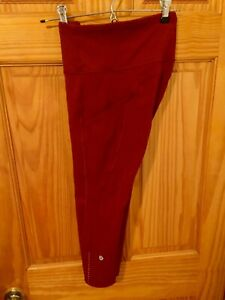 NWOT Lululemon Fast Free High-Rise Crop Leggings Maroon Red 6 Small Run Yoga
