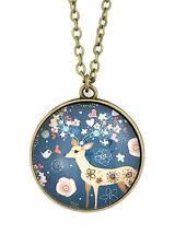 Floral Deer Necklace Antique Gold Tone Retro Vintage Art Print Pendant NR45 Navy