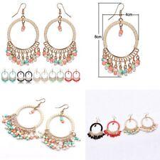 Dangle Earring Colorful Plastic Beads Tassel Dangle Round Drop Earrings Alloy