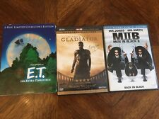 LOT OF 3 E.T. The Extra-Terrestrial DVDs, gladiator, & men In Black 2 Movies