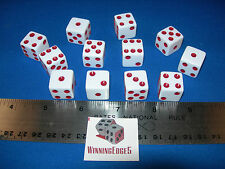 NEW 12 WHITE DICE w/ RED PIPS 16MM FREE SHIPPING BUNCO YAHTZEE CRAPS